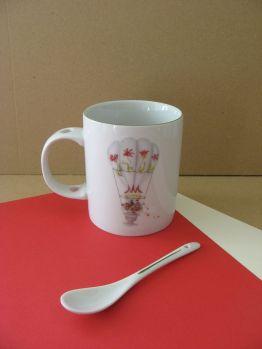 porcelaine - mug avec cuillere 3